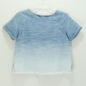 All Saints Jina Tee Light Indigo Ombre Cropped Raw